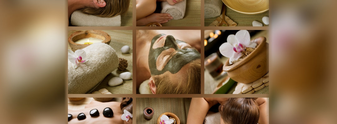 collage of a woman availing facial treatment