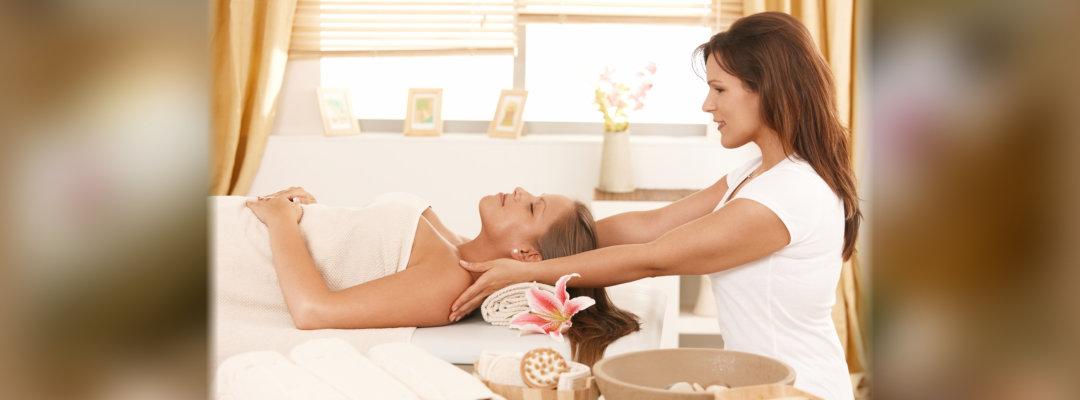woman massaging a customer
